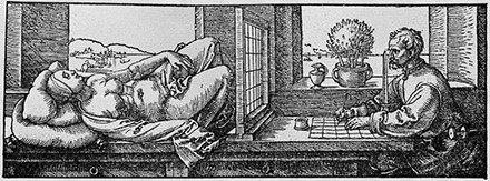 Durer-Draughtsman-making-a-perspective-drawing-of-a-reclining-woman